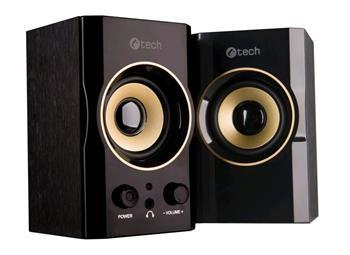 C-TECH reproduktory SPK-11, 2.0, dřevěné, černo-zl