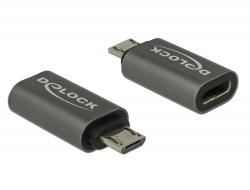 Delock Adaptér USB 2.0 Micro-B samec na USB Type-C™ 2.0 samice antracit