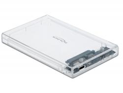 """Delock Externí pouzdro pro HDD / SSD SATA 2.5"""" se zásuvkovým průhledným konektorem USB Type-C™ - beznástrojový"""