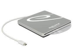 Delock Externí skrín s 5.25 slotem pro zabudování Slim SATA mechaniky 9,5 / 12,7 mm na USB Type-C™ samec stríbrná