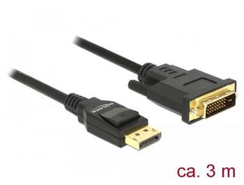 Delock Kabel Displayport 1.2 samec > DVI 24+1 samec pasivní 3 m černý