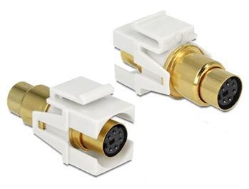 Delock Keystone module Mini-DIN 6 pin samice > samice, pozlacený