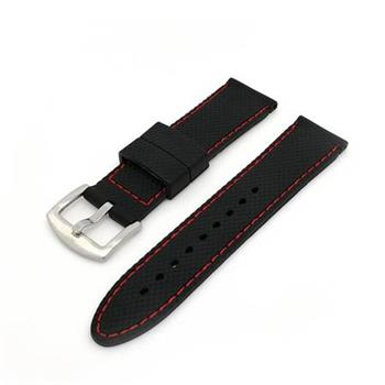 Deveroux - Silikonový řemínek JD006 - Černý s červeným prošíváním - 22 mm