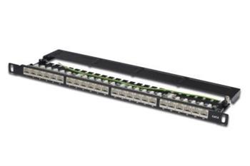 """Digitus CAT 6 Patch Panel, stíněný, 24 portů RJ45 s uzávěrem, 8P8C, LSA, 0,5U, 19 """"montáž do stojanu, bl"""