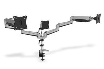 """Digitus Držák pro tři monitory, plynové pružiny, 15-27 """", stříbrný max. Zatížení 6 kg, maximum VESA 100x100"""