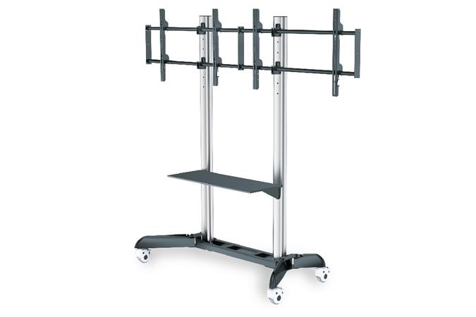 "DIGITUS Dual TV-Cart for screens up to 70"" shelf for DVD players, Notebooks,max load 128kg Wheelbase, VESA max 800x500"
