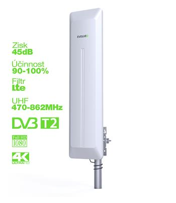 EVOLVEO HDO, aktivní venkovní DVB-T/T2 anténa, 45d