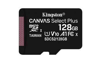 KINGSTON 128GB microSDHC CANVAS Plus Memory Card 100MB/85MBs- UHS-I class 10 Gen 3 - bez adaptéru