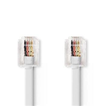 Nedis TCGP90200WT50 - Telekomunikační kabel | RJ11 Zástrčka – RJ11 Zástrčka | 5 m | Bílá barva