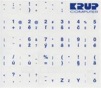 Premium CZ přelepky pro klávesnice s cizím layoutem - bílé písmo, průhledné pozadí