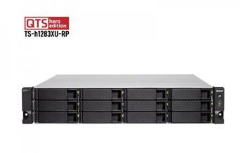 QNAP 12-Bay QTS hero NAS, Intel® Xeon® E-2236 6-core 3.4 GHz processor (burst up to 4.8 GHz), 128 GB UDIMM DDR4 (4 x 32GB), 12x 2.