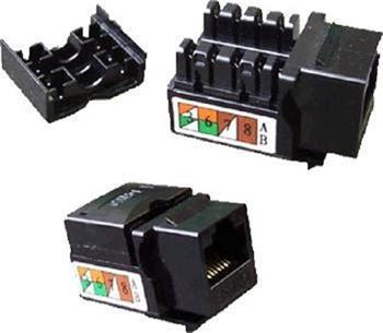 UTP keystone OPTIX Cat5e, duální horní zářez, černý, š. 21 mm